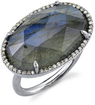 Sheryl Lowe East-West Labradorite Ring w/ Diamonds, Size 8