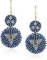 Miguel Ases Jade Double Circle Drop Earrings