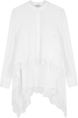 Alexander McQueen White lace-trimmed cotton-poplin shirt