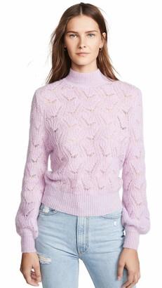 ASTR the Label Women's Audra Geo Weave Classic Crewneck Pullover Sweater