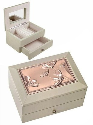 Elégance Beige Jewellery Box with Drawer, Copper Finish. Floral Lid