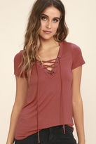 LuLu*s Enjoy the Ride Wine Red Lace-Up Top
