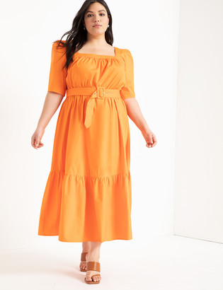 ELOQUII Square Neck Fit and Flare Dress with Belt