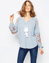 Asos Ultimate Embroidered Peasant Blouse in Chambray