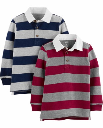 Simple Joys by Carter's 2-pack Long- Sleeve Rugby Striped Shirts T Set Navy Burgundy 3T Pack of 2