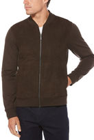 Perry Ellis Quilted Faux Suede Full Zip Jacket