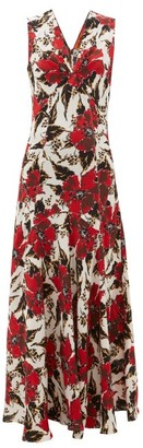 Colville - Floral-print Panelled Crepe Maxi Dress - Womens - Red Print