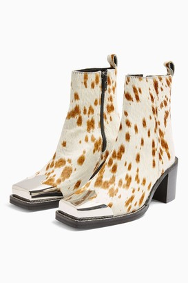Topshop Womens Marshal Western Animal Print Leather Boots - Natural