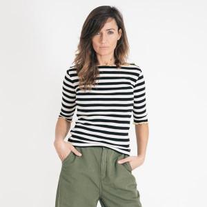 Bellerose Black White Striped Nibi T Shirt - 0 | UK 6