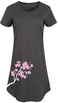 Instant Message Women's Women's Tee Shirt Dresses HEATHER - Heather Charcoal Cherry Blossom Side-Hit Short-Sleeve Dress - Women & Plus