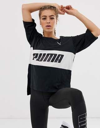 Puma longline logo t-shirt in black