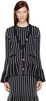 Thom Browne Navy V-neck Pleated Jacket
