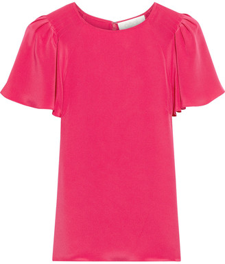 Goat Jamie Pleated Silk Crepe De Chine Top