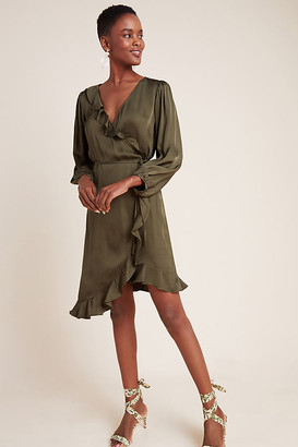 Velvet by Graham & Spencer Alena Ruffled Wrap Dress By in Green Size XS