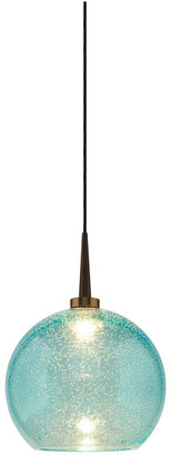 "Bruck Lighting Bobo 2, Pendant, LED, 4"" Kiss Canopy, Bronze With Aqua Glass Shade"