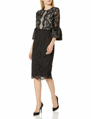 Maggy London Women's Scroll Lace Cocktail Sheath Mixed with Stretch Satin