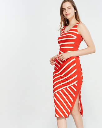 Karen Millen Red Striped Jersey Midi Dress