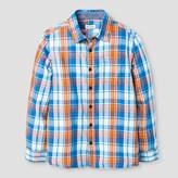 Cat & Jack Boys' Button Down Shirt Cat & Jack Kente Blue/Orange