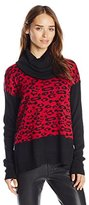 Buffalo David Bitton Women's Bejack Cowl Neck Leopard Print Pullover Sweater