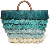 Kayu Pinata Leather-trimmed Fringed Straw Tote - Blue