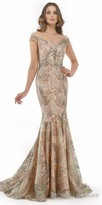 Morrell Maxie Illusion Cap Sleeve Fitted Evening Dress with Sweep Train