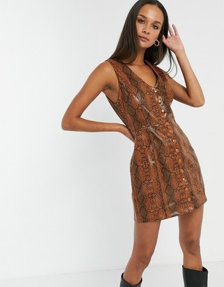 Emory Park button front mini dress in faux snake leather