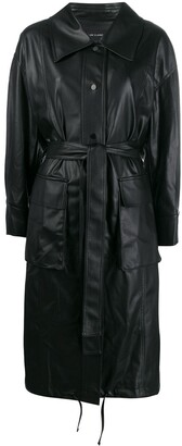 Low Classic belted faux leather trench