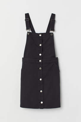 H&M Cotton Twill Overall Dress - Black