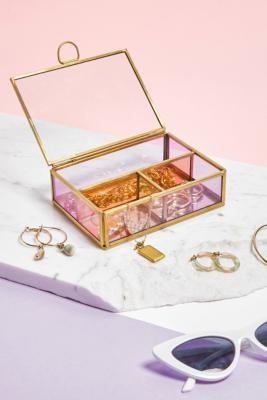 Urban Outfitters Mini Coloured Glass Jewellery Box - Pink ALL at