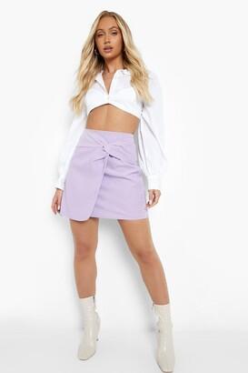 boohoo Woven Knot Detail Wrap Mini Skirt