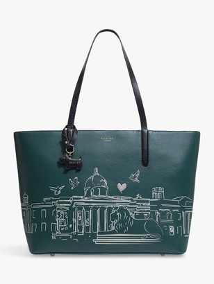 Radley London Leather Zip Top Tote Bag, Kale