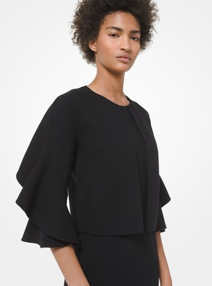 Michael Kors Collection Stretch Boucle Ruffle-Sleeve Cardigan