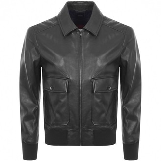 HUGO BOSS Gonel Leather Jacket Navy