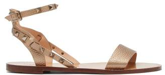 Valentino Rockstud Grained Leather Sandals - Womens - Gold