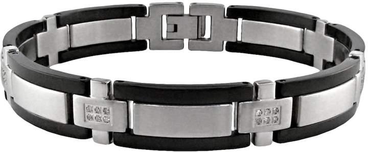 Lynx Stainless Steel Black Ion 1/4-ct. T.W. Diamond Bracelet - Men