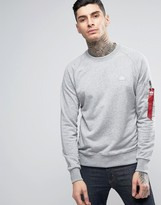Alpha Industries Crew Sweat Small Logo In Grey Marl