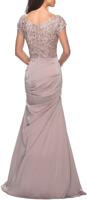 La Femme Embroidered Bodice Ruched Trumpet Gown
