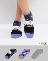 Sock Shop 3 Pack Rabbit Sneaker Socks