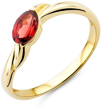 Miore Ladies 9ct Yellow Gold Garnet Engagement Ring - Size L 1/2