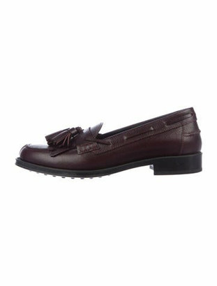 Tod's Leather Fringe Trim Accent Loafers Purple