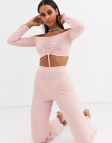 Lasula lounge ribbed trouser co ord in pink