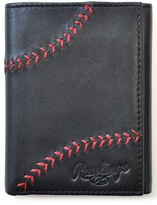Rawlings Sports Accessories Men's Baseball Stitch Leather Trifold Wallet - Black