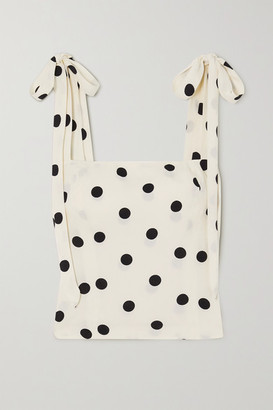 Reformation Ellora Tie-detailed Polka-dot Crepe De Chine Top - White