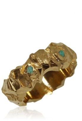 Karolina Bik Jewellery Carved In The Rock Ring Gold With Emeralds