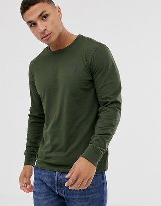 Polo Ralph Lauren player logo long sleeve top in olive green