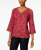 Style&Co. Style & Co Cold-Shoulder Floral-Print Top, Only at Macy's