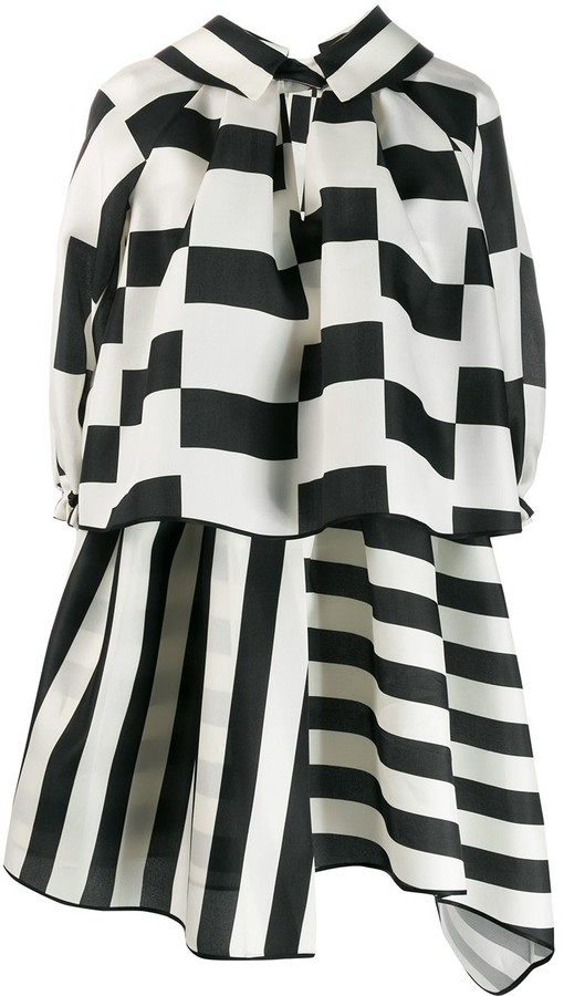 Dice Kayek Contrast Puff Mini Dress