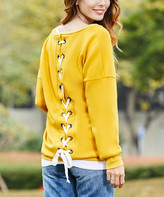 Z Avenue Women's Pullover Sweaters Mustard - Mustard Lace-Up Back Sweater - Women & Plus