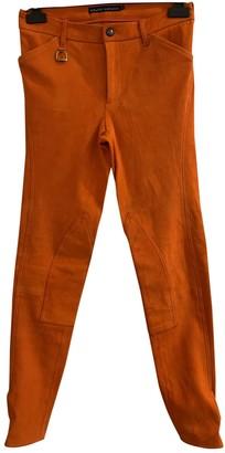 Ralph Lauren Orange Suede Trousers for Women