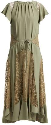 Chloé Lace Insert Silk Crepe Dress - Womens - Green